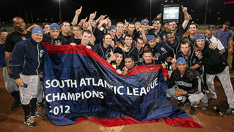 Asheville celebrates its first Sally League championship since 2001.