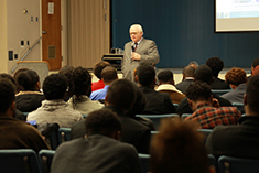 MiLB President Pat O'Conner speaks with students at Virginia State University.